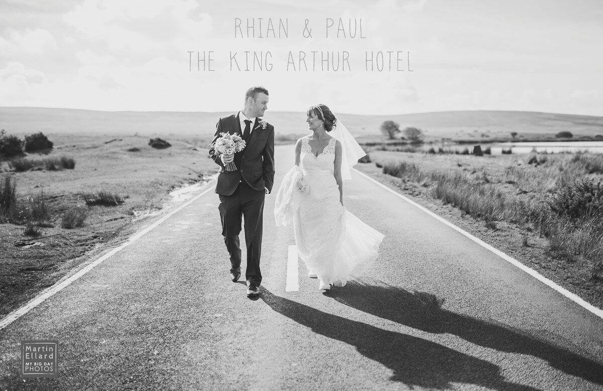bride and groom sunset walk King Arthur Gower wedding