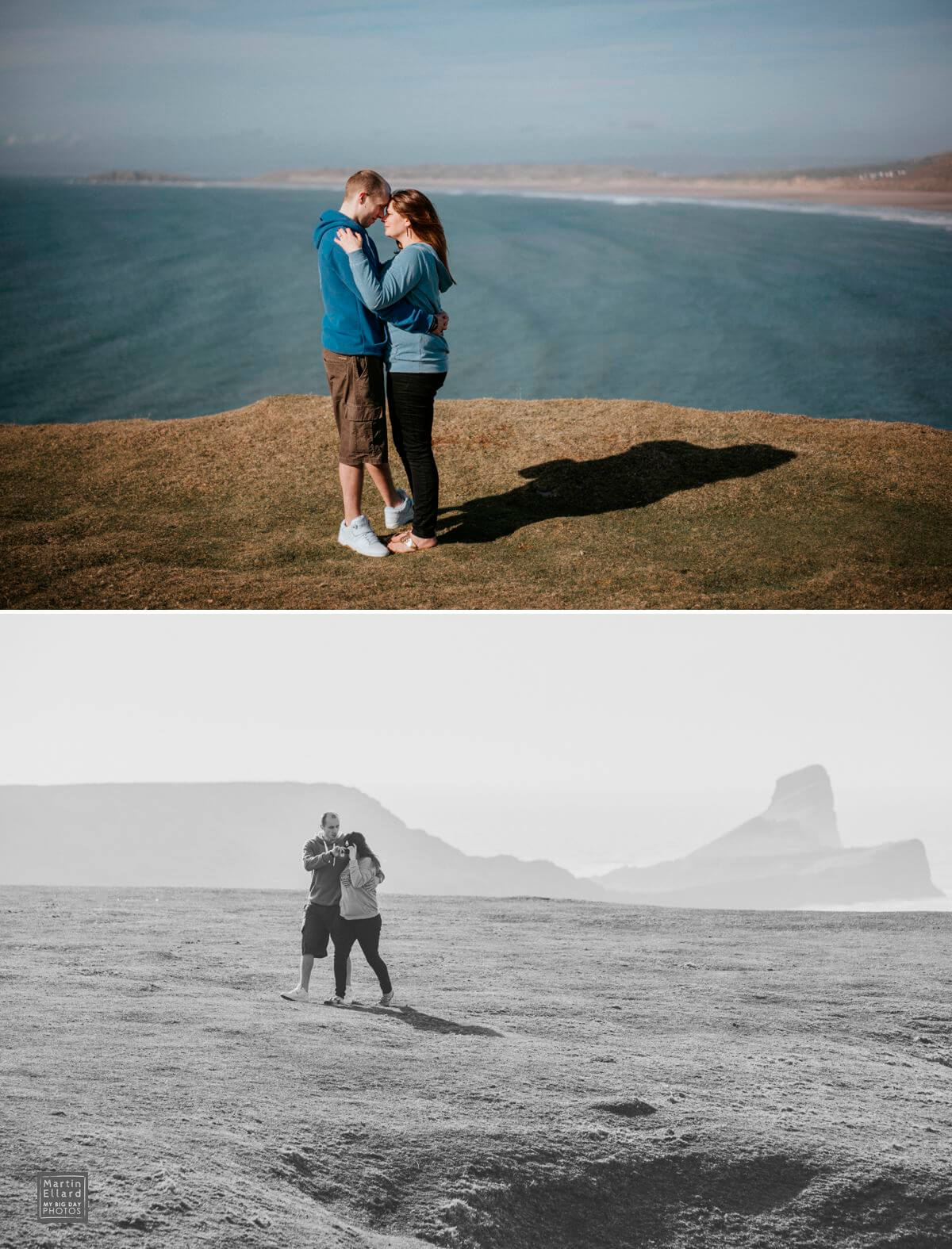 couple engagement shoot overlooking Rhossili Bay