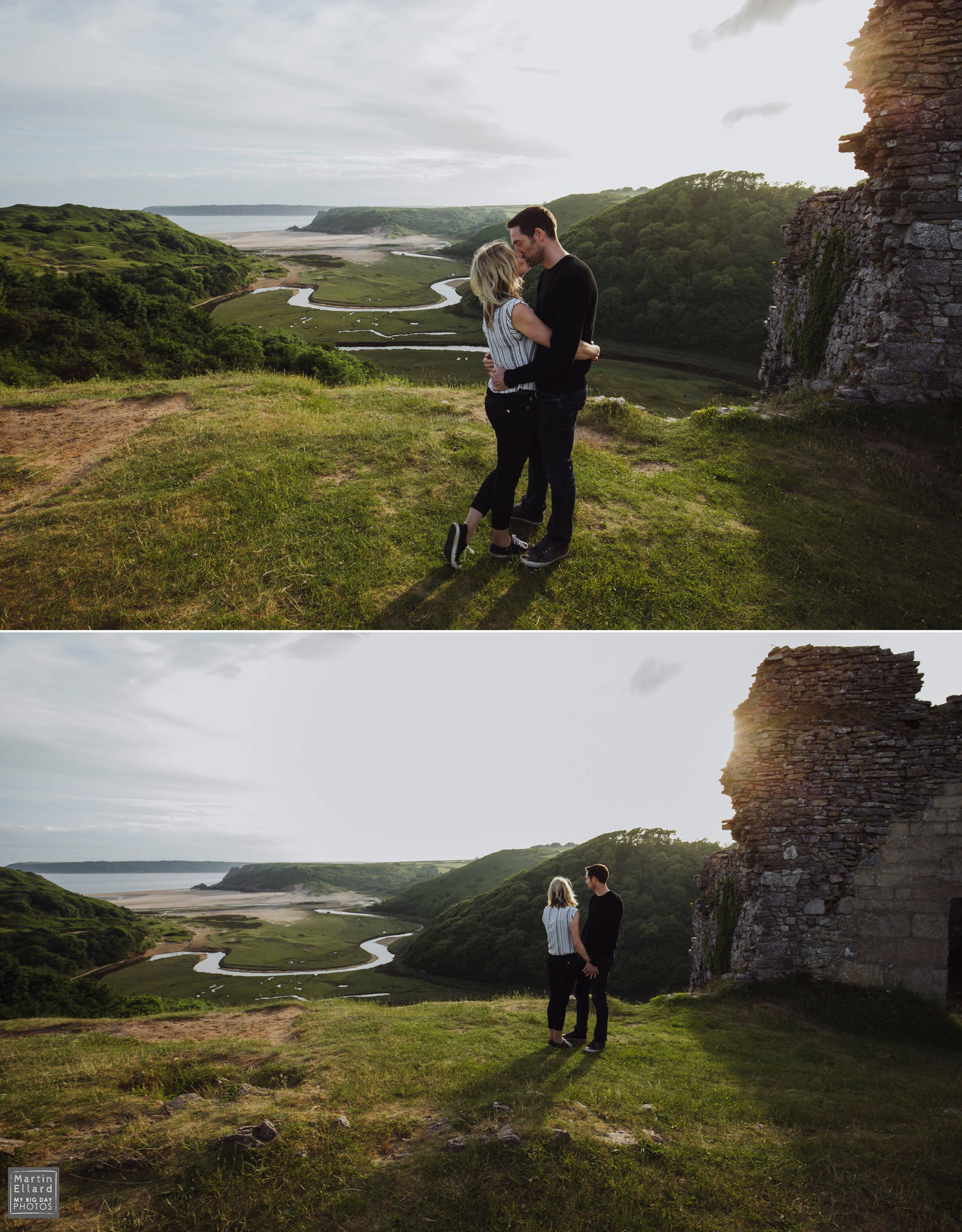gower wedding photographer engagement shoot three cliffs bay