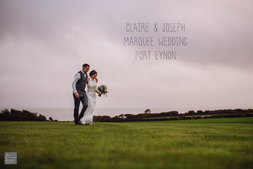 Claire Joseph Gower marquee Swansea wedding