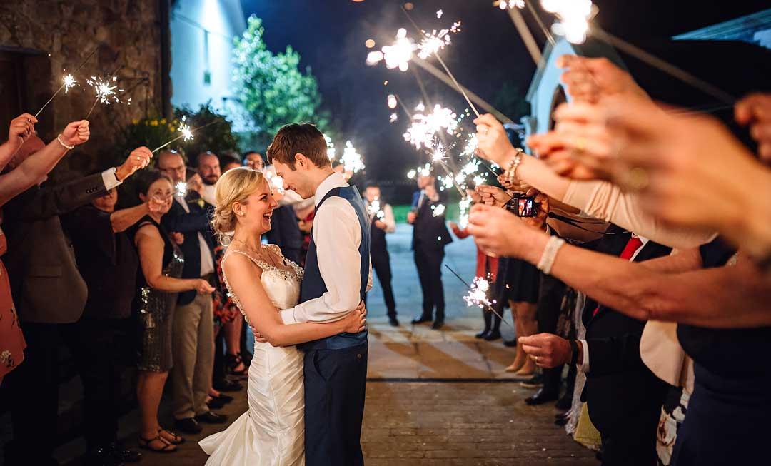 wedding sparkler photos Swansea wedding photographer