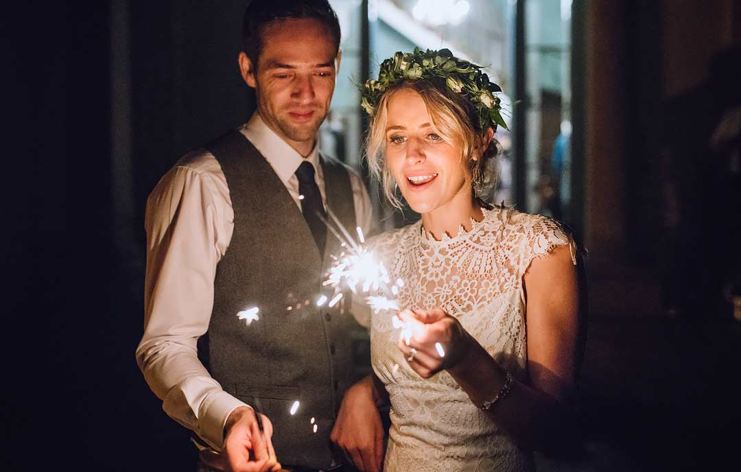 wedding sparkler photos Swansea wedding photographer