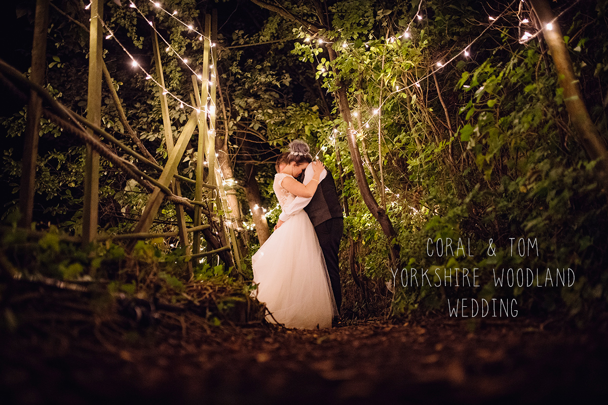 Yorkshire woodland wedding forest fairylights alternative rustic outdoor wedding