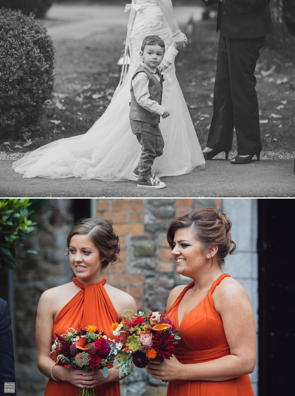 bridesmaids wearing burnt orange multiway dresses