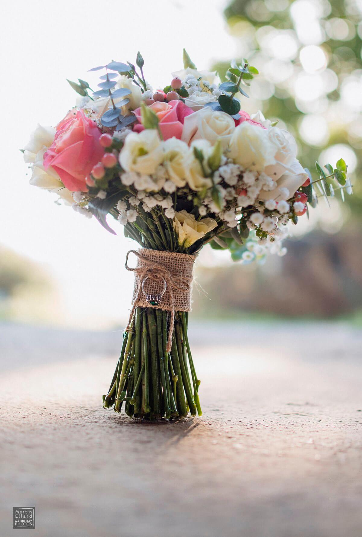 wedding bouquet with granny's ring