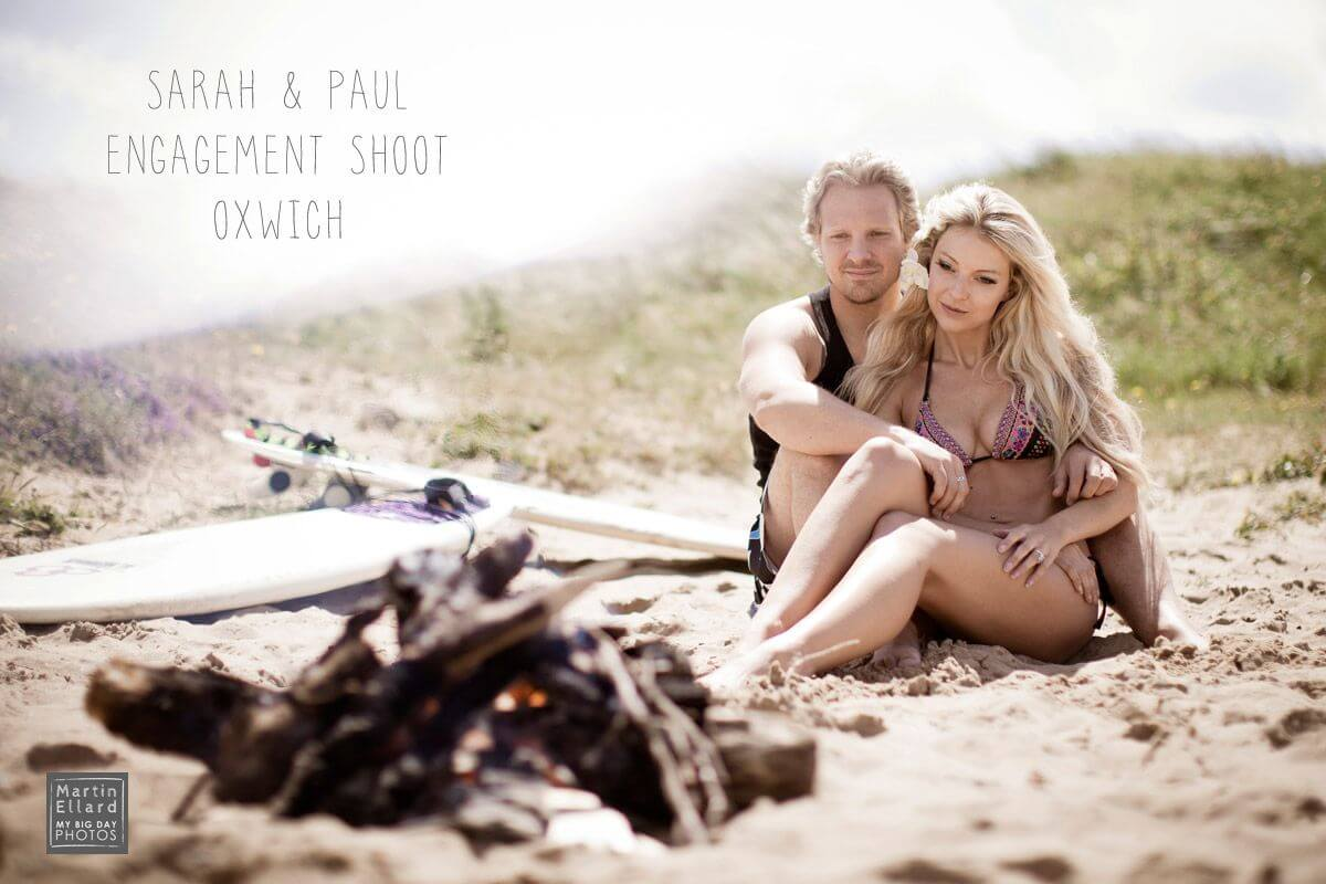 engagement shoot Oxwich Bay Gower beach surf Swansea