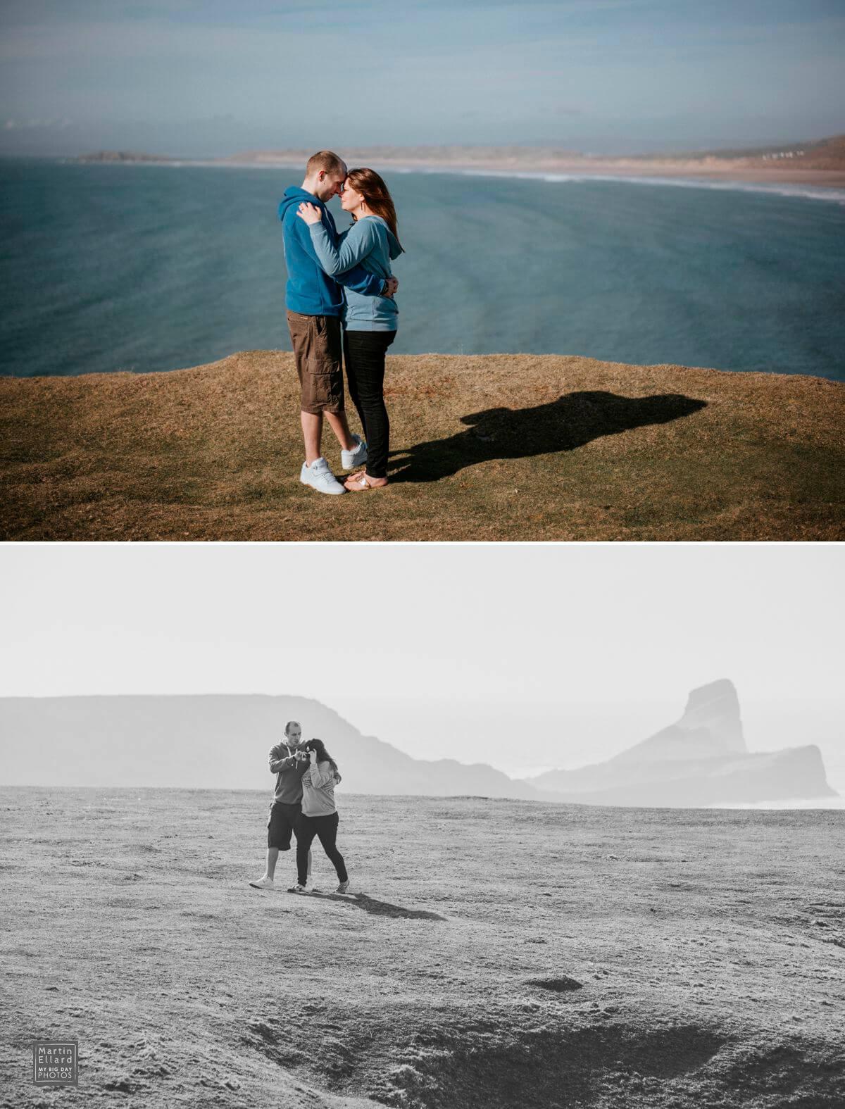 couple engagement shoot overlooking Rhossili Bay