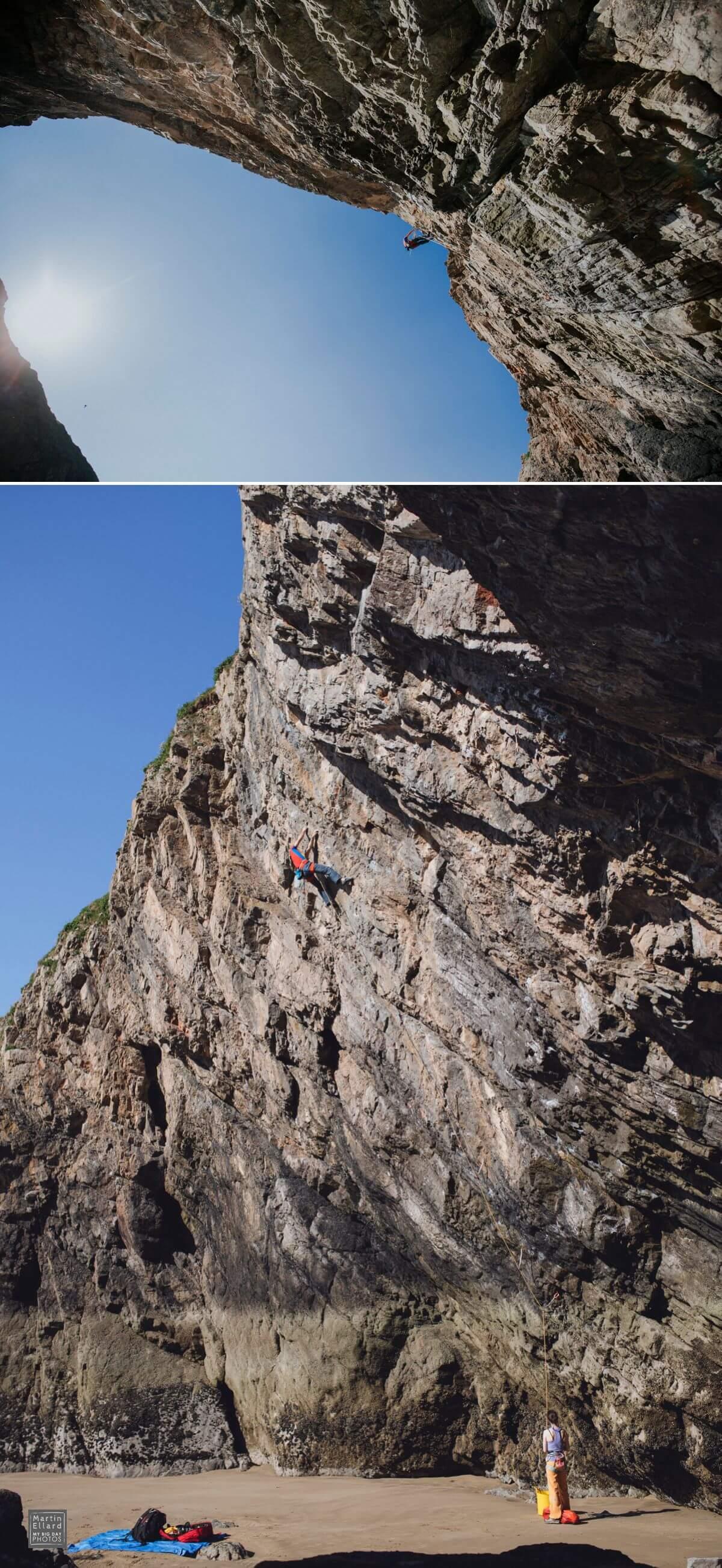 alternative climbing engagement shoot Gower Swansea wedding photographer South Wales outdoor life wanderlust travel adventurous couples