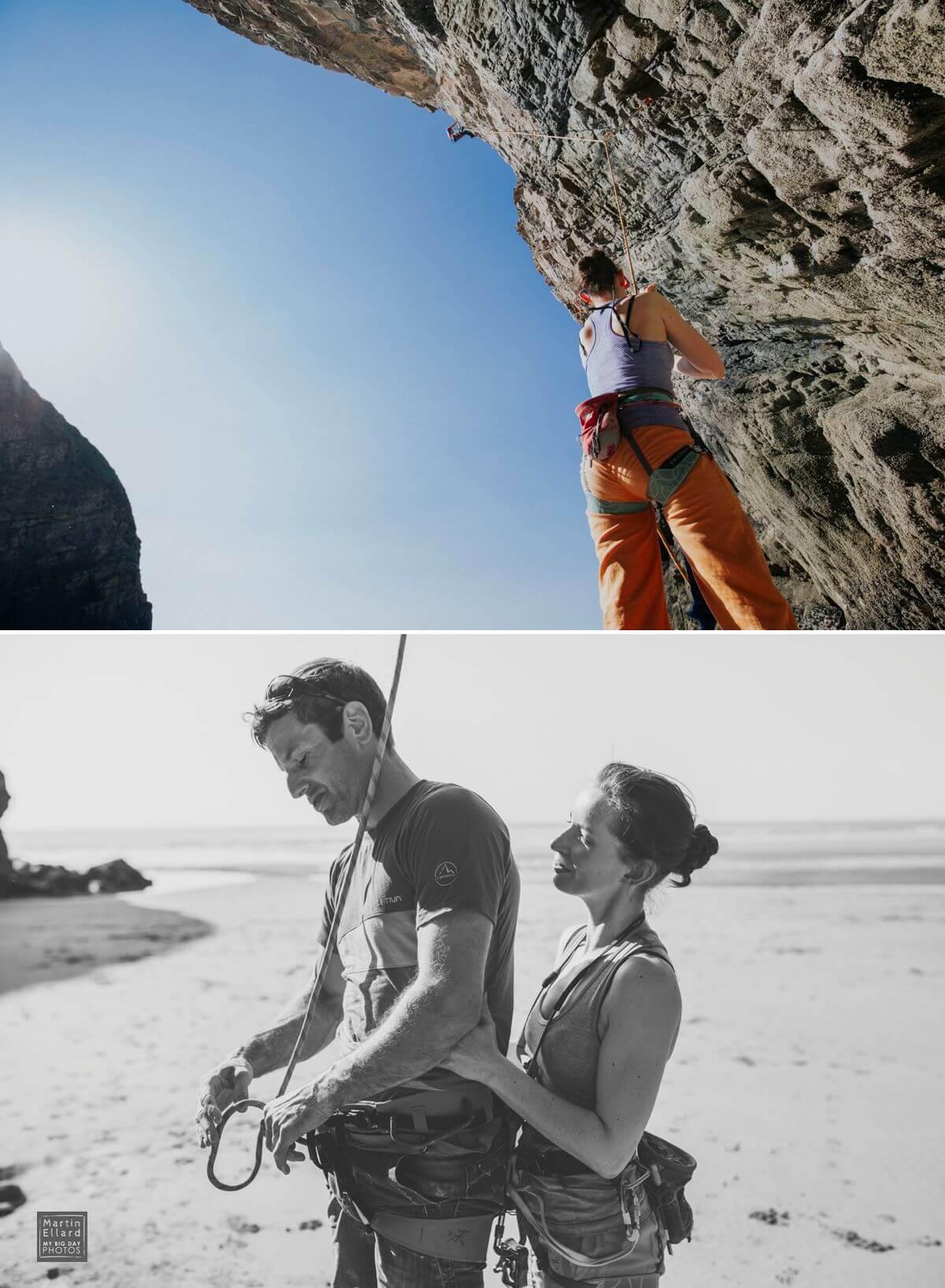 rock climbing engagement shoot