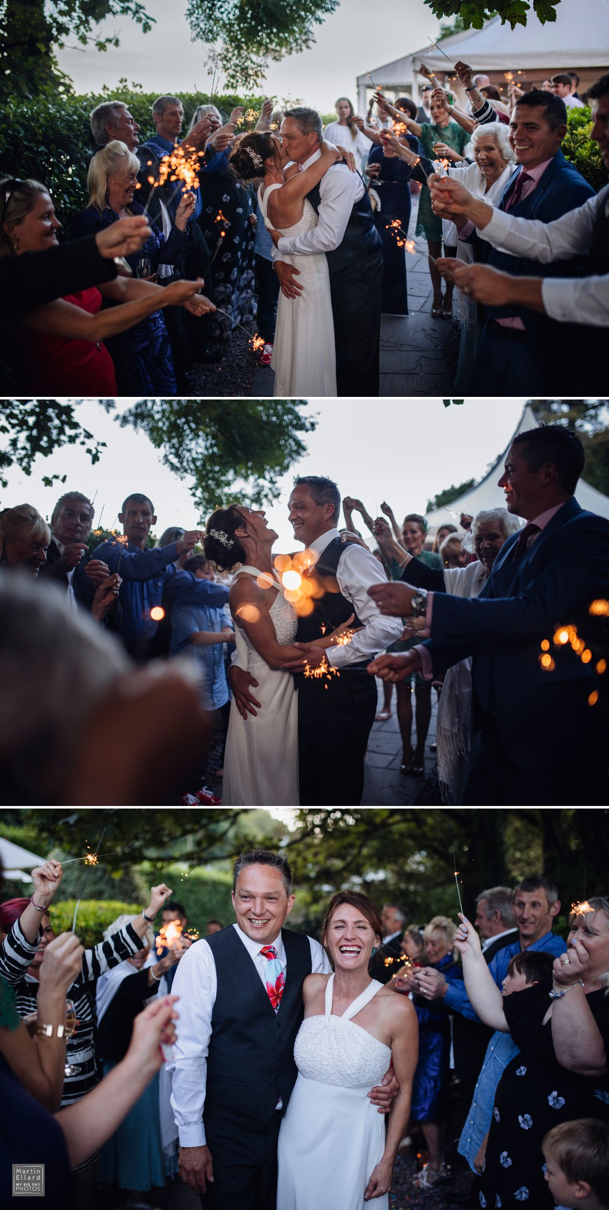 wedding sparklers at Oxwich Bay Hotel