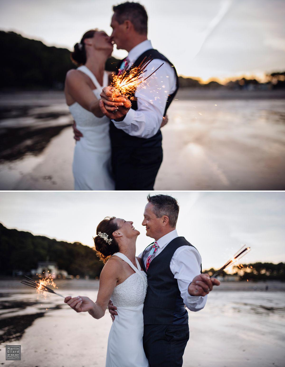 wedding group sparkler shot at Oxwich Bay Hotel Gower Swansea